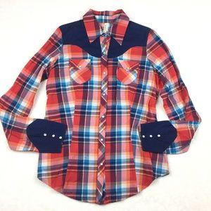 Roper Womens Cowgirl Western Shirt Red Blue Plaid